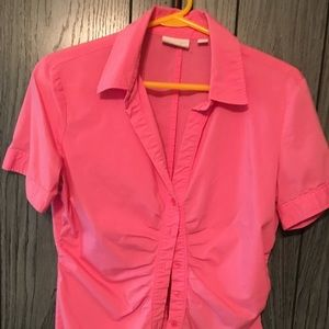 New York and Company Pink pinstriped blouse